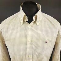 Tommy Hilfiger Mens Shirt LARGE Long Sleeve Beige Regular Fit Check Cotton