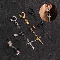 1Pcs Stainless Steel Ear Chain Cross Feather Drop Dangle Earrings  Men Women