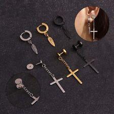 1x Men Women Stainless Steel Ear Chain Cross Feather Drop Dangle Earrings UK