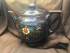 "Vintag Brown Betty Tea Pot- Gold Trim Moriage Enameled Flowers, 5 1/4"" Japan"