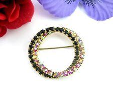 BLACK & RED AURORA BOREALIS RHINESTONES Brooch Vintage Pin AB CIRCLES Goldtone