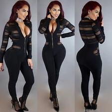 Nero con Cerniera Maglia Tuta Club Wear Giocare Suit Costume Taglia S M L XL