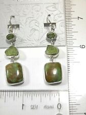 AMY KAHN RUSSELL Peridot Turquoise Sterling Silver Dangle FISH HOOK BACK Earring