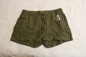 Old Navy Women's Mid-Rise Linen Blend Shorts AW7 Hunter Pines Large NWT