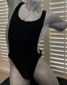 Men's 90's Sheer Black Singlet Body Suit One Piece Bikini size LARGE Vintage