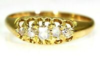 Victorian 0.25ct Rose Cut Diamond 18ct Yellow Gold Ring L 1/2 ~ 6