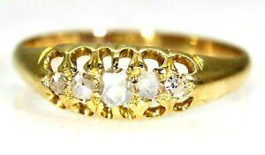 Victorian 0.25ct Rose Cut Diamond 18ct Yellow Gold Ring L 1/2 ~ 6