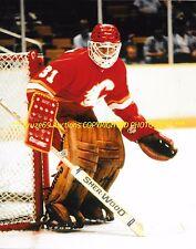 REJEAN LEMELIN Defends His NET 8x10 Photo CALGARY FLAMES Star GOALIE 1980-87 WOW