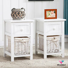 Set of 2 White Chic Nightstand End Side Bedside Table w/Wicker Storage Wood
