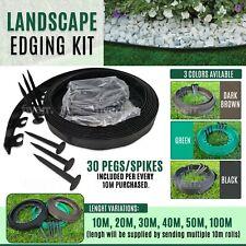 32 ft / 10m+60 Pegs Garden Grass Lawn Edging Wall Flexible Plastic Border 4cm