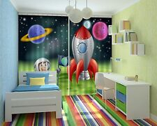 3D Rocket Paint Blockout Photo Curtain Printing Curtains Drapes Fabric Window CA