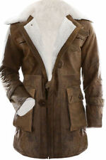 Bane Dark Knight Rises Jacket Genuine Leather Fur Buffing Brown Trench Coat
