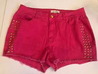 Nicki Minaj Pink Shorts Juniors Size 11/12 Gold Stud Bedazzled Jewels
