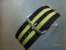 Relojes pulsera nailon 24 mm negro amarillo otan banda hebilla textil
