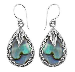 DESIGNER ABALONE Shell Leaf Earrings in 925 Sterling Silver - 3.4 cm