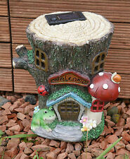 Solar Powered LED Garden Ornament Fairy log House Tree Stump Toadstool Garden UK