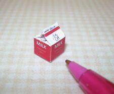 Miniature WHITE Milk Carton, PINT: DOLLHOUSE Miniatures 1/12 Scale