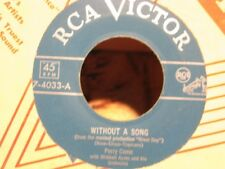 ++PERRY COMO without a song/more than you know SP RCA USA RARE VG++