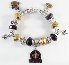 Official NFL NEW ORLEANS SAINTS Football Charm Bracelet GLASS BEADS Gold Black