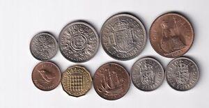 Großbritannien 9 Münzen Farthing bis Half Crown 1953 nsw-leipzig