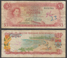 Bahamas 3 Dollars 1965 (VG-F) Condition Banknote P-19a QEII