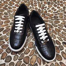 Men's Shoes Genuine Crocodile Alligator Skin Leather Black - US Shoe Size 7-11