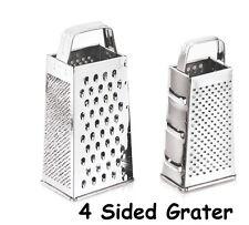 """STAINLESS STEEL 9"""" BOX 4 SIDED GRATER CHEESE FRUIT VEGETABLE SLICER SHREDDER"""