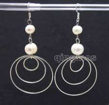 3 piece metal Ring 3.5'' Earring-616 Sale Fashion 8-10mm White Natural Pearl and