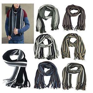 Mens Winter Warm Striped Scarves Tassel Long Scarf Knit Fringe Shawl Wrap Stole