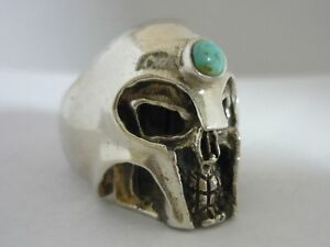 Superb Large Men's Unique Vintage Sterling Silver & Turquoise Skull Ring Size T