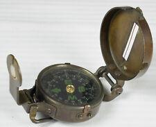 Vintage Brass? Metal Pocket Compass, Hiking, Military or Engineering?, Works