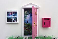 Opening pink fairy door, post box, fairy window