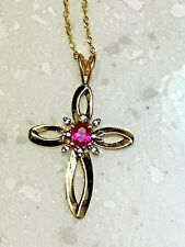 Designer Gestempelt Natürliche Rubin & Diamant Kreuz Halskette