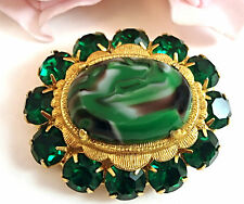 Vintage Jewelry  Costume Juliana Style Green Marbleized Brooch Pin