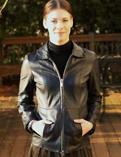 GUESS couture black buttery Leather Jacket 4 6 S small moto motorcycle classic