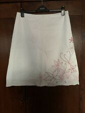 Ladies NEXT White Lined A Line Skirt Pink Red Green Embroidered Flowers Size 14