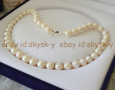 REAL PEARL AAA+ SUPER 10-11MM NATURAL FRESHWATER ROUND PEARLS NECKLACE 18 INCHES