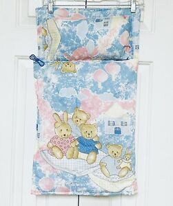 """Vintage 90's Doll Bed Set Pillow Comforter Teddy Bear Bunny Pattern 25"""" x 14"""""""