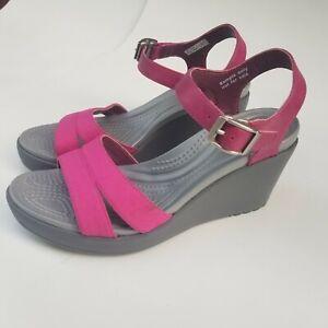 "Crocs Leigh II #202511 Pink Gray 3.5"" Wedge Heel Ankle Open Toe Sandals Size 7"