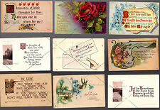 18 POSTCARD Antique Vintage = Greetings Poetry Friends 1908-1929 w 1c 2c stamp