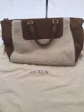 J Crew Collection Suede & Shearling Satchel Handbag Purse Bag EUC