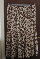 """evans essence long skirt 37.5"""",size 16,linen mix,brown&cream new with tags"""