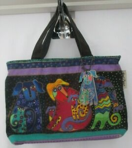 LAUREL BURCH SUN N SURF DOG CANVAS TOTE BACK PURSE WITH TAG - AS IS