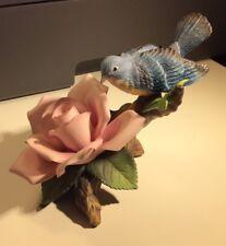 Andrea by Sadek Bluebird with Pink Rose 11499 China Bird Flower Figurine NIB