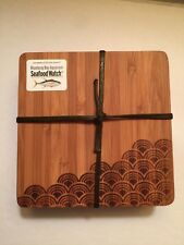 BAMBU Wave Designed Set of 4 Coasters Made of Bamboo  - New With Tag