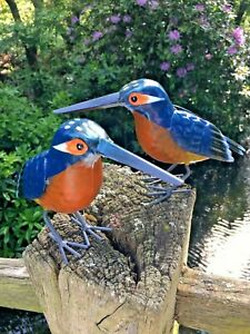 Pair of Hand Finished Metal Kingfisher Garden Bird Pond Ornaments
