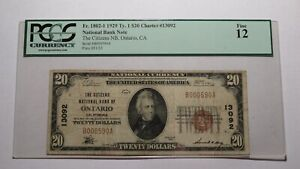 $20 1929 Ontario California CA National Currency Bank Note Bill! Ch. #13092 F12