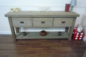 Large Farmhouse Style Console Table - Sideboard In A Weathered Oak Finish