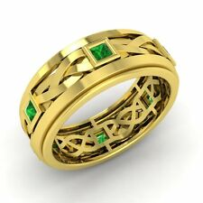 Princess Cut Emerald Men's Band / Ring In Solid 14k Yellow Gold-6.5 mm width