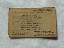 Vintage 1936 New Jersey Vehicle DMV Address Change Le Roy Taylor 21993